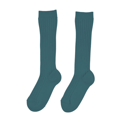 Knee High Ribbed Socks | Petrol