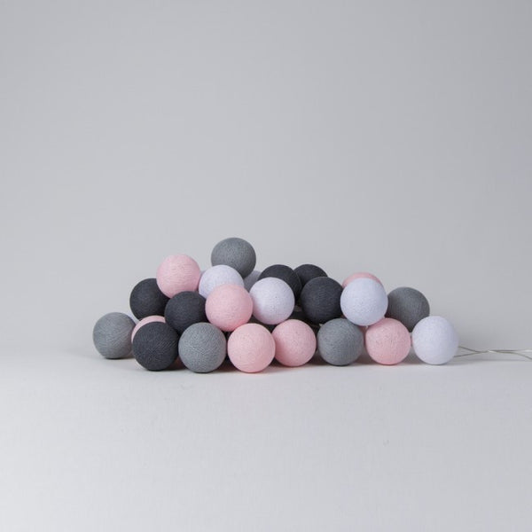 Cotton Ball Lights - Pink & Grey