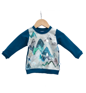 Pullover Sweater || Blue Mountain with Moroccan Blue