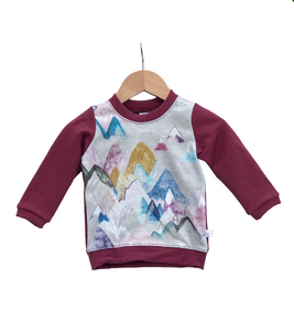 Pullover Sweater || Pastel Mountains With Merlot