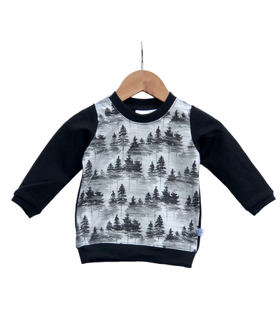 Pullover Sweater || Forest Print With Black