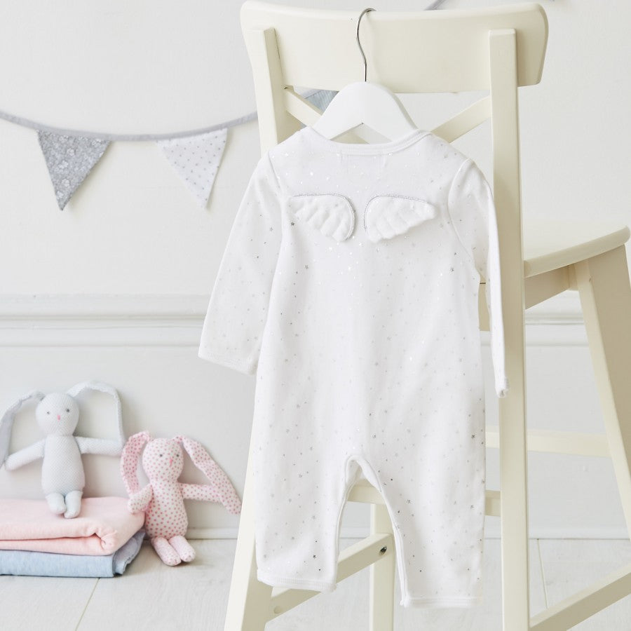 Angel Wings Silver Star Babygrow from Albetta UK - Product of the week