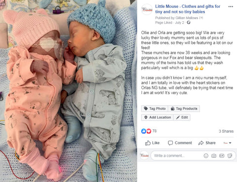 Facebook post - premature baby twins