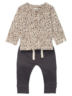 Leopard Top and Charcoal Trouser Set - Organic Cotton (4-7lb)