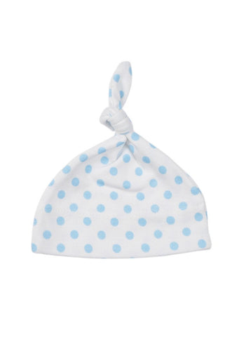 Blue Spotty Premature Baby Knotted Hat (1.5lb-3lb)
