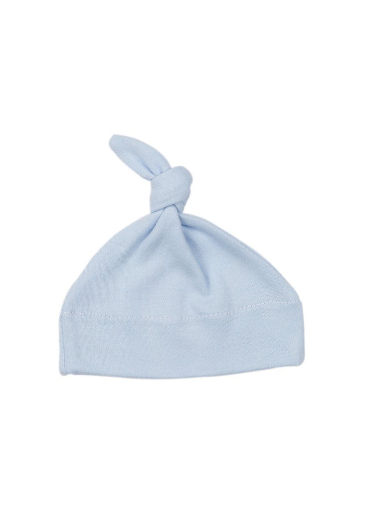 Light Blue Knotted Premature Baby Hat (1.5-3lb)