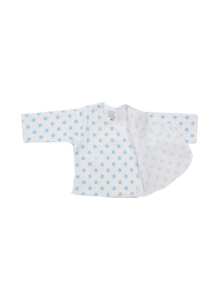 Blue Spotty Wrapover Long Sleeve Shirt (Premature Baby)