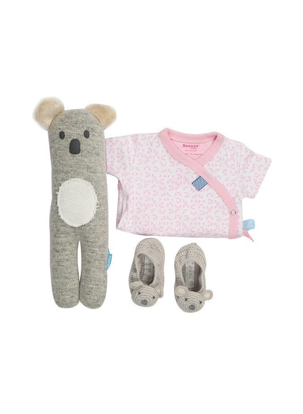 Pink Mosaic Wrap Romper, Large Koala Toy & Koala Booties Gift Set