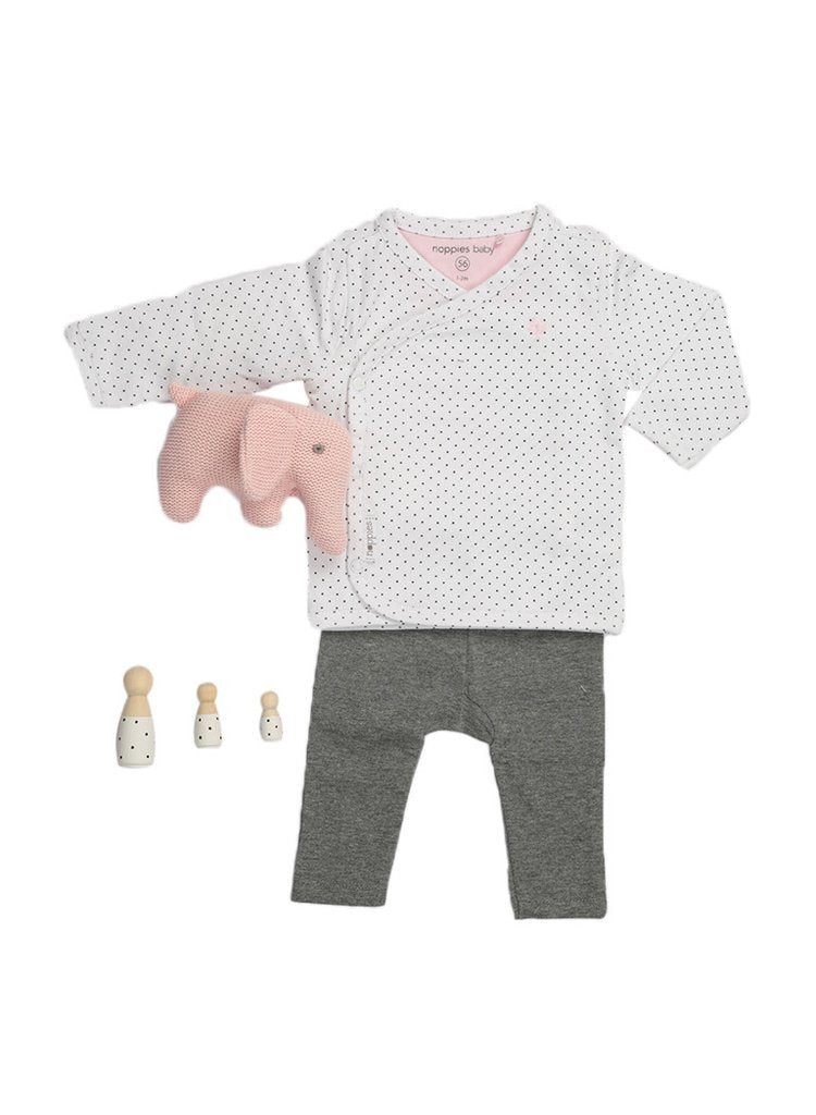 Spotty Wrap Top, Charcoal Leggings & Pink Elephant Rattle (Tiny Baby)