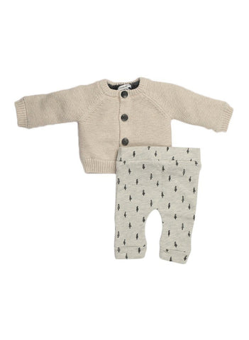 Chunky Cardigan & Tree Print Trousers - Tiny Baby Gift Set