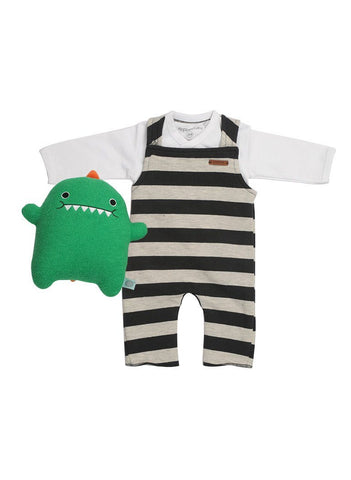 Black & White Stripe Dungarees, Long Sleeve Vest & Dino