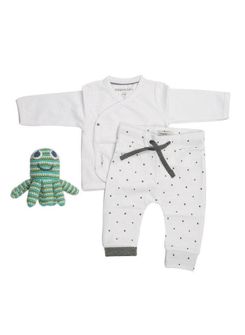 Wrap-Over Top, Star Trousers &  Octopus Rattle - Tiny Baby Gift Set