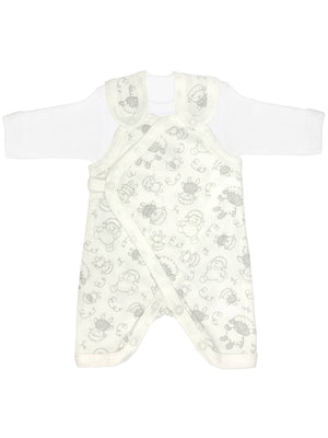 Early Baby Top & Dungarees Set - White with Sheep Print (3-5lbs)