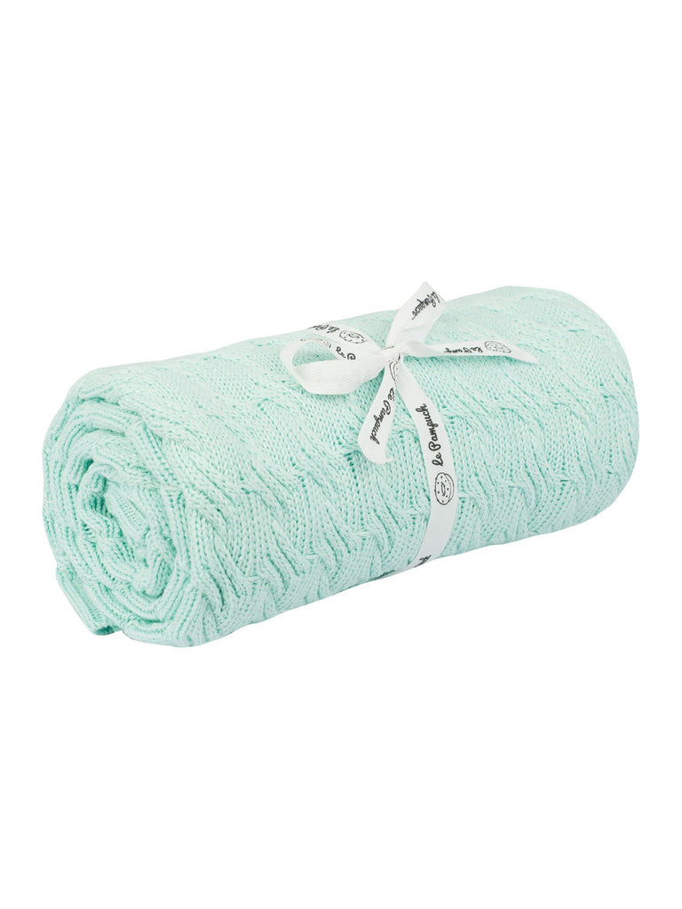 Cable Knit Mint Bamboo/Cotton Blanket - 100 x 80cm