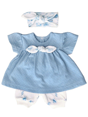 Cornflower Blue Floral Dress, Trousers & Headband Set (Tiny Baby 5lb-8lb)