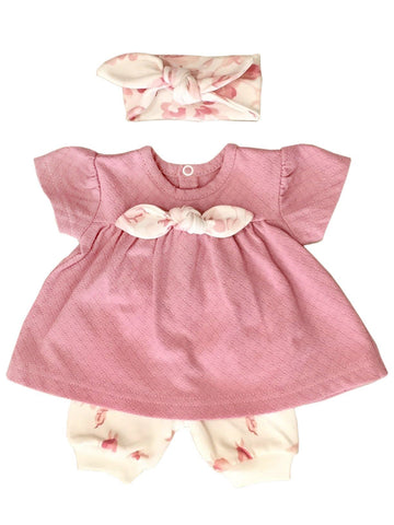 Pink Floral Dress, Trousers & Headband Set (Tiny Baby 5lb-8lb)
