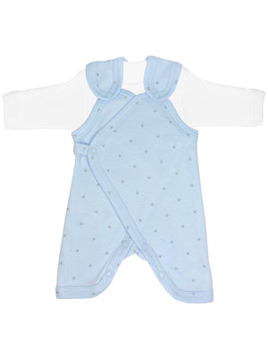 Early Baby Top & Dungarees Set - Blue with Stars (3-5lbs)