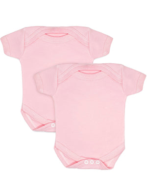 2 Pack - 100% Cotton Pink Short Sleeved Bodysuits (Early Baby, 3-5lb)