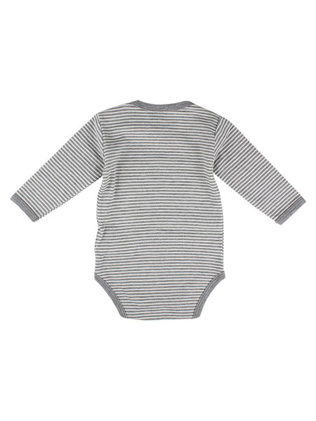 Organic Cotton Grey Stripe Long Sleeve Vest (5-8lb)