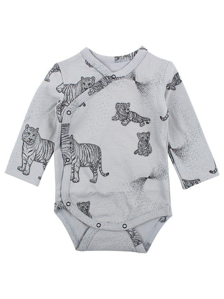 Organic Cotton Tiger Print Slate Blue Long Sleeve Vest (5-8lbs)