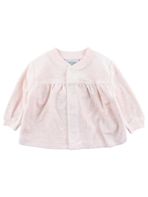 Organic Cotton Velour Speckled Cardigan - Pink (Newborn)