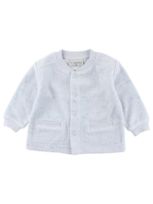 Organic Cotton Velour Speckled Cardigan - Blue (Newborn)