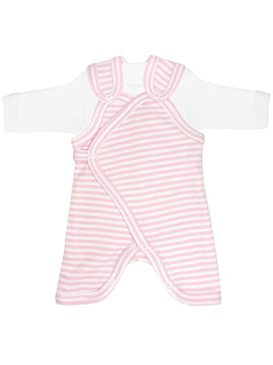 Early Baby Top & Dungarees Set - Pink with Stripes(3-5lbs)