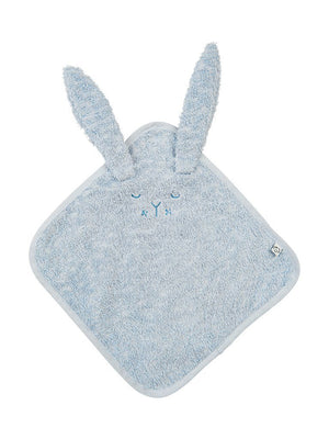 Organic Cotton Blue Flannel Bunny Washcloth 25 x 25 cm