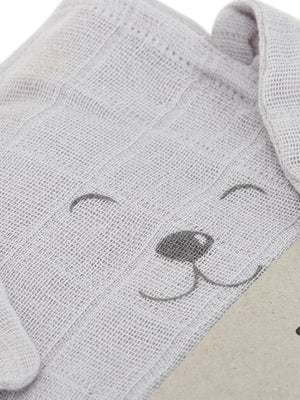 4 Pack, Organic Cotton Muslins, Grey Bunny, 65 x 65 cm