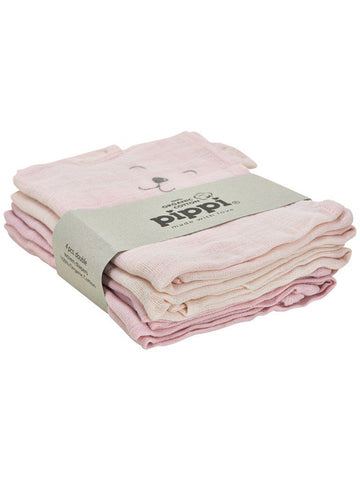 4 Pack, Organic Cotton Muslins, Pink Bear, 65 x 65 cm