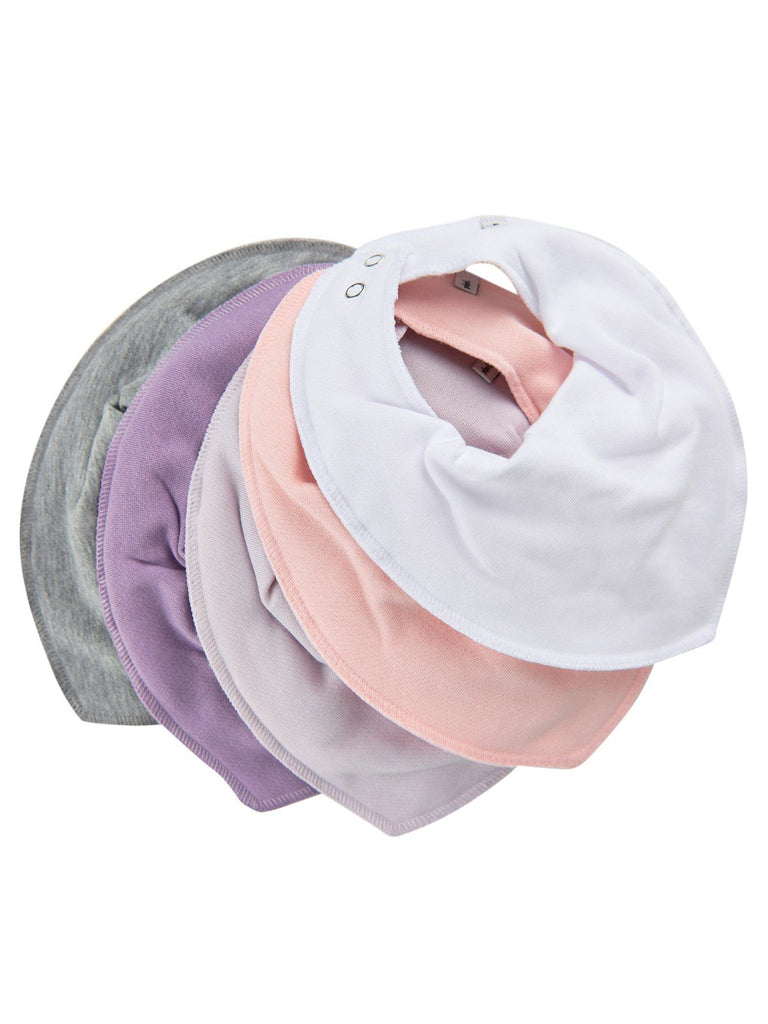 Pack of 5 Organic Cotton Scarf Bibs - Pink & Purple