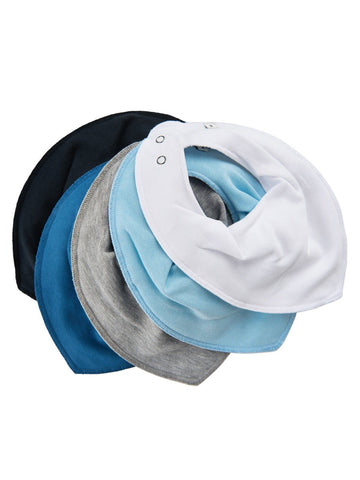 Pack of 5 Organic Cotton Scarf Bibs - Blue