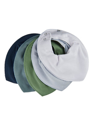 Pack of 5 Organic Cotton Scarf Bibs - Green & Blue