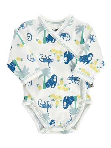 Organic Cotton Tropical Monkey Print Longsleeve Vest - 3-5lb