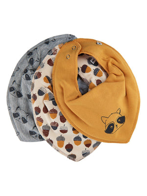 Pack of 3 Organic Cotton Scarf Bibs - Woodland Raccoon