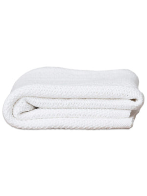 100% Cotton Cellular Baby Blanket - White