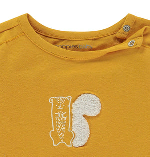Mustard Textured Squirrel Top - Organic (Tiny Baby Size, 4-7lb)