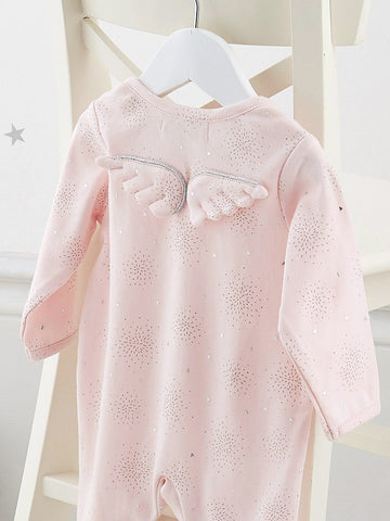 Angel Wings Silver Star Soft Pink Babygrow (0-3 Months)