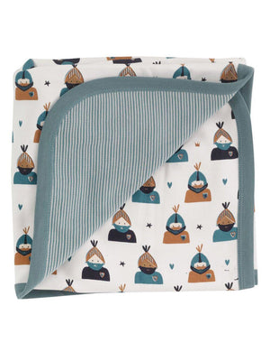 Cream & Teal Knight Print Blanket by Pigeon Organics