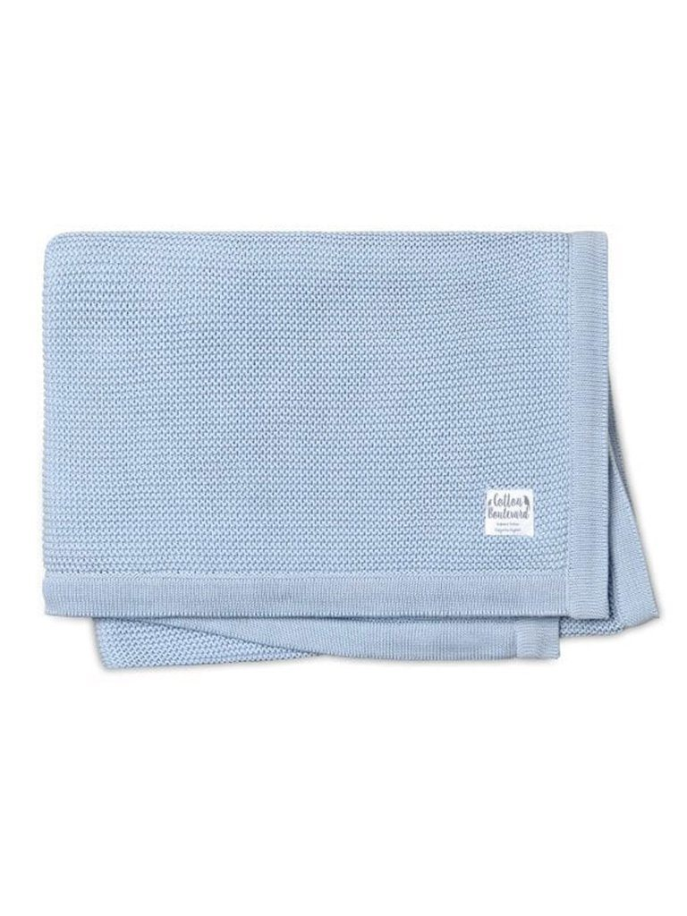 Organic Cotton Knitted Blanket - Blue