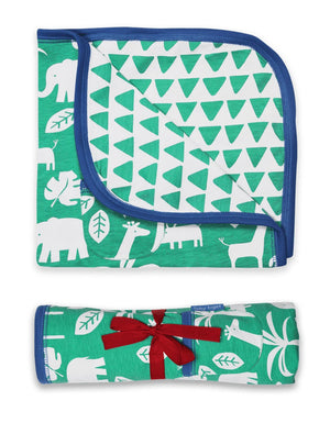 Toby Tiger Organic Green Jungle Print Blanket