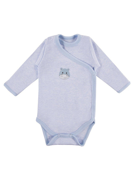 Early Baby Long Sleeved Bodysuit, Cute Hippo Design - Blue (3-5lb & 5-8lb)