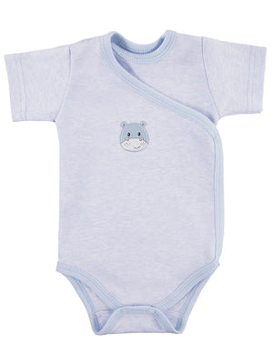Early Baby Short Sleeved Bodysuit, Cute Hippo Design - Blue (3-5lb)