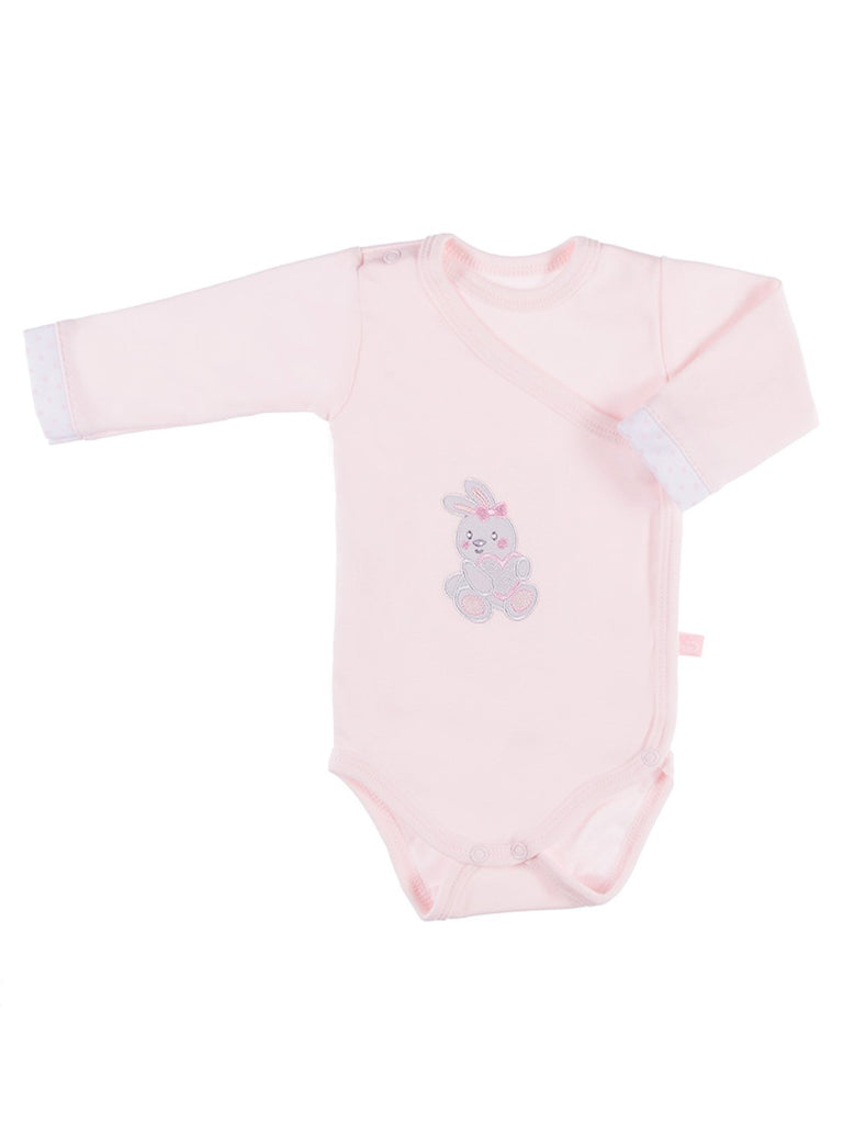 Early Baby Bodysuit, Embroidered Bunny Rabbit Design - Pink (3-5lb)