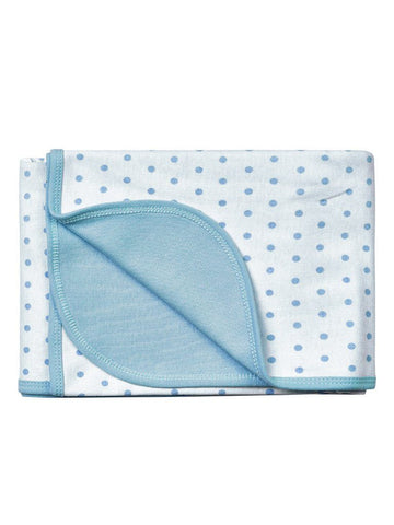 Organic Cotton Blanket, Blue Polkadot, 70 x 70 cm