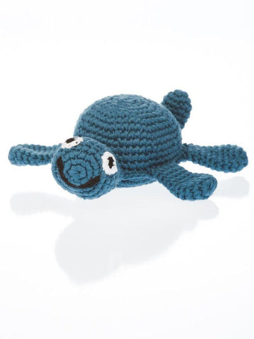 Turtle - Fair Trade Organic Crochet Baby Rattle - Deep Blue