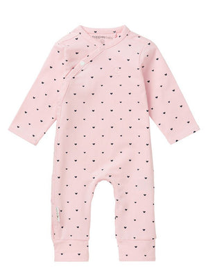 Tiny Baby Sleepsuit - Pink with Black hearts (4-7lb, 1-2 months)