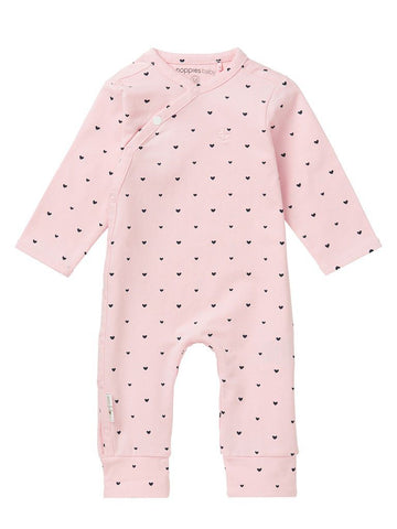 Tiny Baby Sleepsuit - Pink with Black hearts (4-7lb)