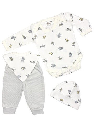 Jungle Print Gift Set: Bodysuit, Trousers, Hat & Bib (Newborn & 0-3 months)