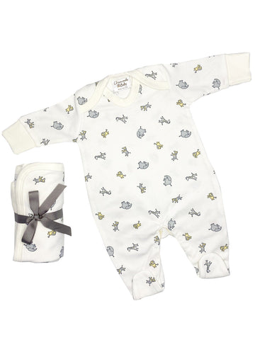 Jungle Print Gift Set: Sleepsuit & Blanket (Newborn & 0-3 months)